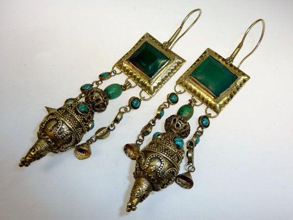Antike tibetische Silberohrringe vergoldet von neemaheTribal
