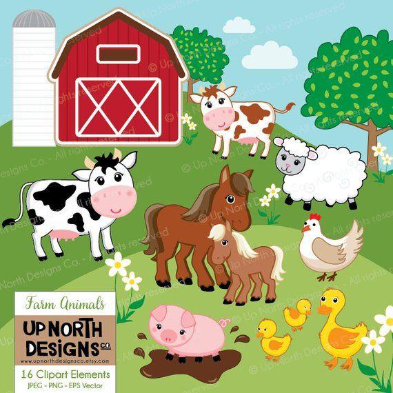 Farm Animals Clipart Cow Horse Duck Sheep Pig Illustrations Etsy In 2021 Pig Illustration Animal Clipart Sheep Pig