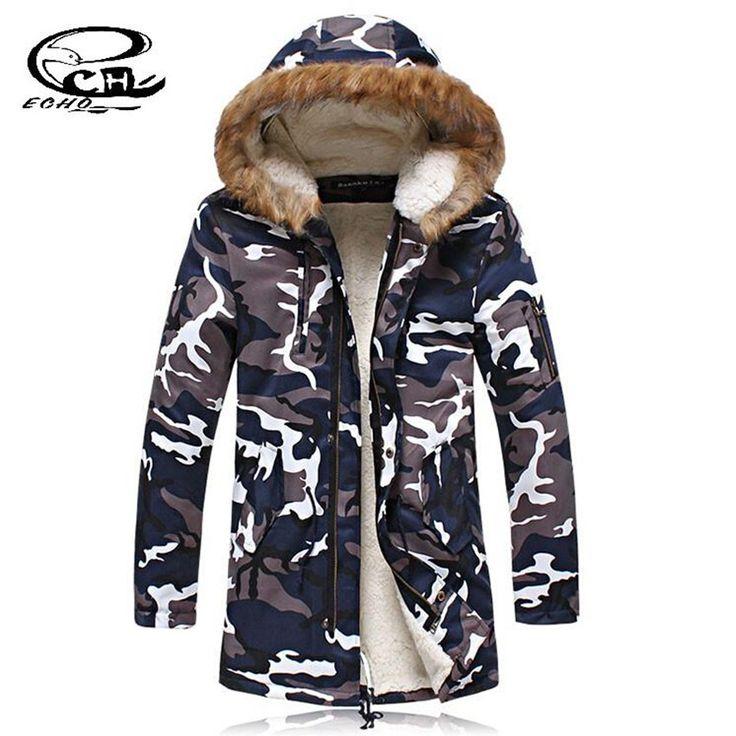 New Parkas Hombre Invierno Parka Hombre Larga De Camuflage Casual Velvet Cotton-Padded Clothes Jacket Plus Size 5XL Parka Men