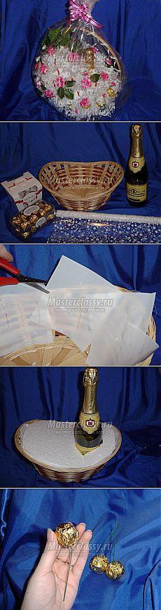 Подарки из конфет своими руками. Корзинка с шампанским. Часть 1. Мастер-класс с пошаговыми фото