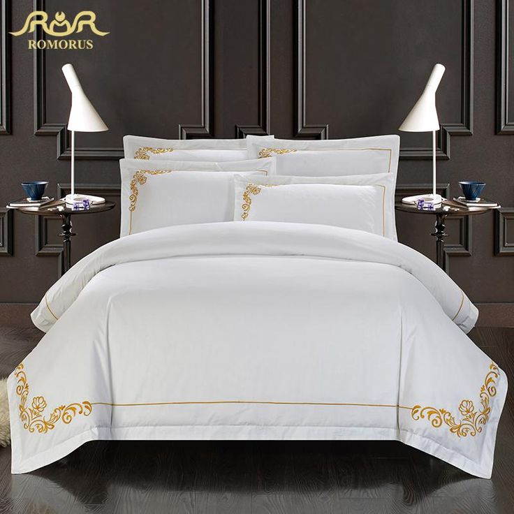 ROMORUS 100% Cotton Tribute Silk Bedding Set  White Embroidered Hotel Duvet Cover Set  King Queen Size with Bed Sheet Pillowcase-in Bedding Sets from Home & Garden on Aliexpress.com | Alibaba Group