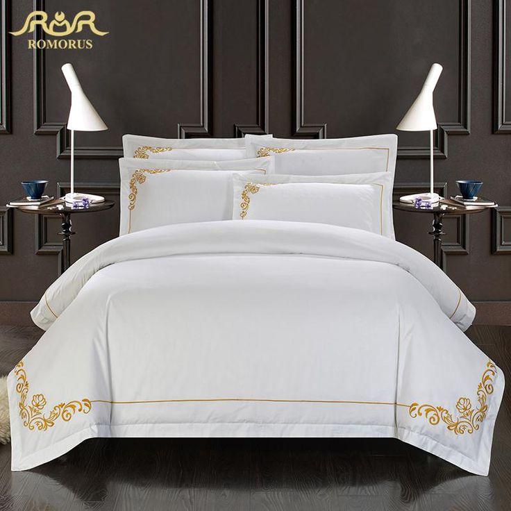 Romorus 100% algodão conjunto de cama de seda tributo bordado branco do hotel capa de edredão set rei queen size com roupas de cama fronhas da folha de rosto em Conjuntos de cama de Home & Garden no AliExpress.com | Alibaba Group