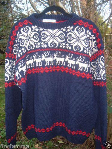 Vintage 50s Husfliden Norwegian Handknitted Wool Sweater L XL Nordic Ski Norway   eBay