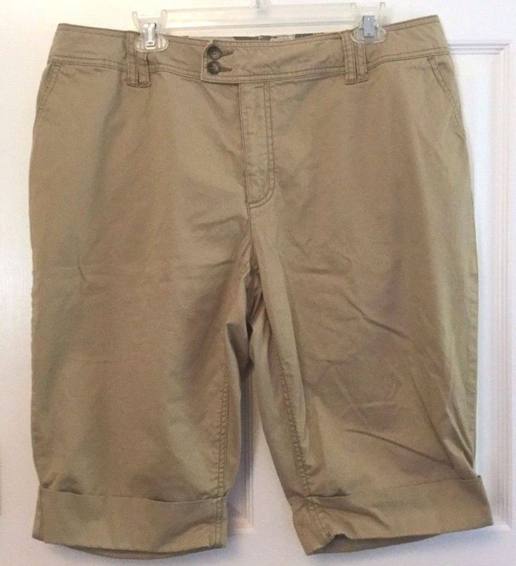 ana Walking Shorts 4 Pocket Khaki Cuffed Zip Flat Front Cotton Spandex 16W  #ana #BermudaWalking