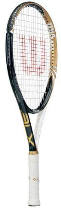 """Wilson Tempest Four BLX 110: Wilson Tennis Racquets by Wilson. $129.00. Headsize:110 sq. inLength:27.25""""Beam Width:28mm Dual TaperWeight Strung:8.2ozRacquet/Player Type:Game ImprovementColor(s):Black/White/GoldComposition/Construction:Basalt, Karophite BlackString Pattern(Mains X Crosses):16 x 20Recommended String Tension:53-63 lbs.Balance:38cm/(14.9 in)-Head HeavyGrommet Technology:Double Holes TechnologyFrame Technology:Linear GeometryGrip Type:Wilson Comfort HybridSwing..."""