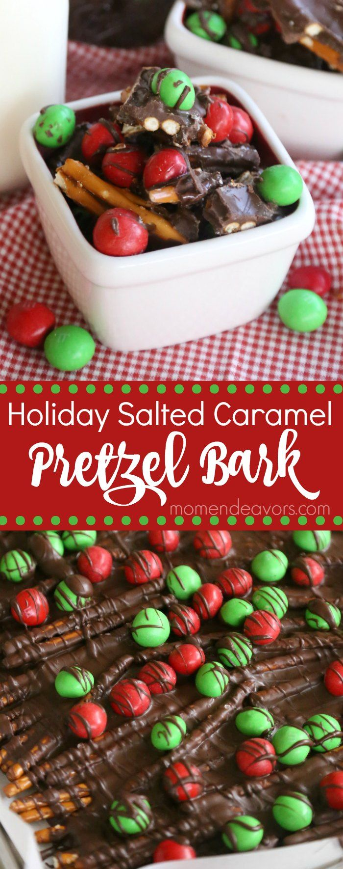 Easy, no-bake holiday salted caramel pretzel bark recipe - perfect for holiday parties and edible holiday gifts! @MilkLife @mmschocolate #SweetnessToShare #MilkLife AD