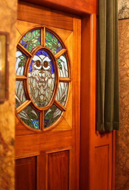 Owl stained glass door