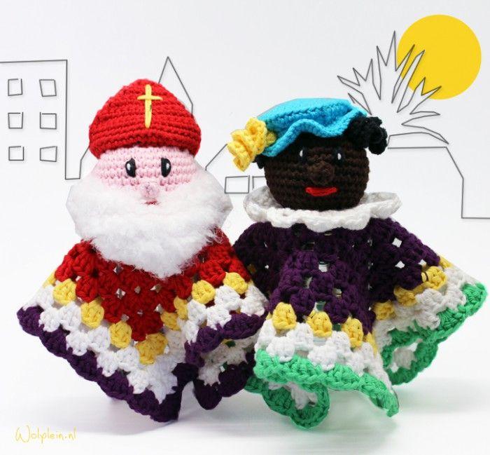 Sinterklaas en Zwarte piet haken! Gratis patroon
