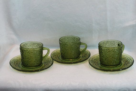 SALE!!  Three Vintage Soreno Avocado Green Mugs and Saucers