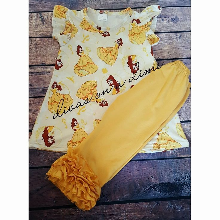 Belle from Beauty and the Beast outfit     Divas on a dime coop, baby girl, toddler girl, little girls, outfits, fashionista, icings, boutique outfit, headbands, leggings, holiday, belle, beauty and the beast