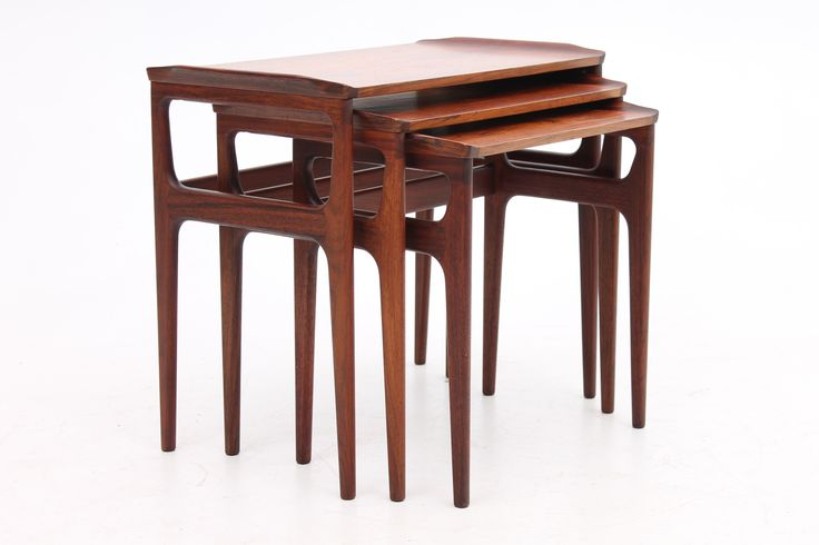 Unique set of teak nesting tables. Designed and produced in Denmark in the 1950s. www.reModern.dk