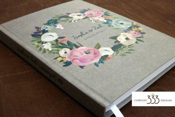 Kraft paper wedding guest book. Floral wreath wedding guestbook or journal.   Etsy shop https://www.etsy.com/listing/251555330/kraft-wedding-guest-book-muted-flower