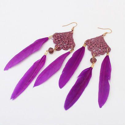 """Montana"" Purple Bohemian Feather Earrings $12 http://www.milkymoon.com.au/products/montana-bohemian-feather-earrings"