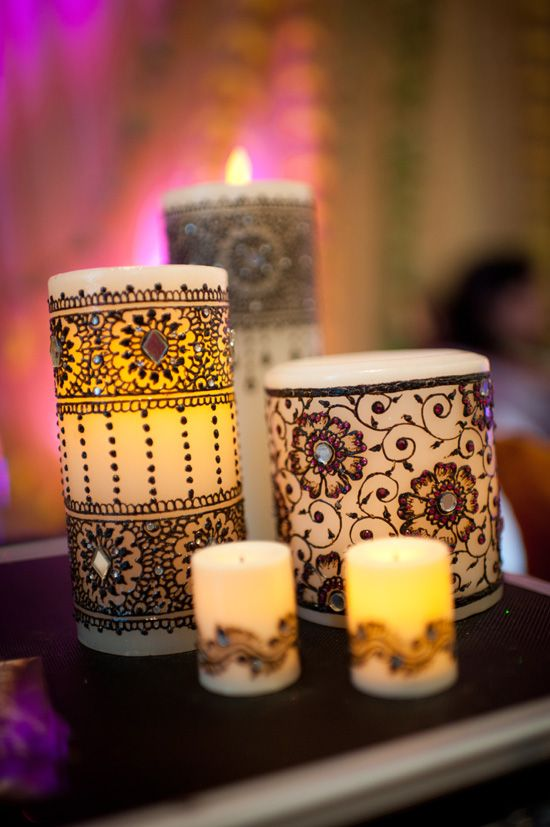 I really want to try to make this! Mendhi Candles with jewels! Great center pieces.