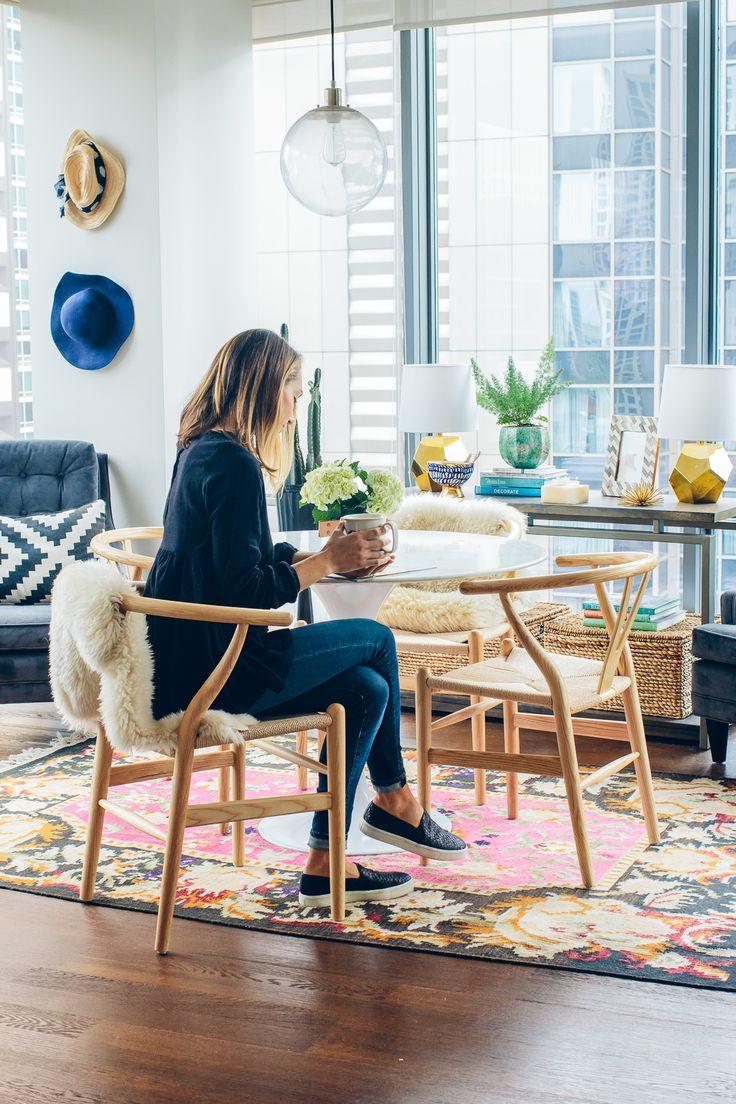 tulip table and wishbone chairs