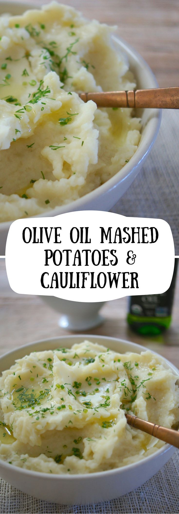 Creamy Olive Oil Mashed Potatoes & Cauliflower for your Thanksgiving table. A healthy mashed potato, great for guests who are dairy-free, vegan, and watching their cholesterol.