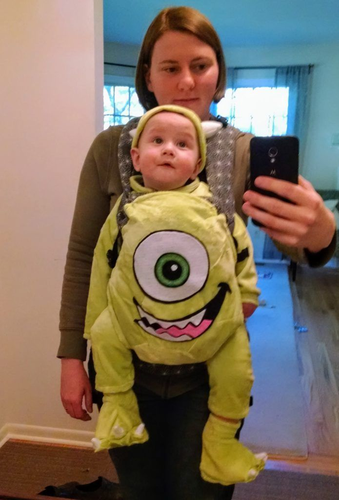 Sewing A Mike Wazowski Baby Carrier Costume From Monsters Inc Baby Carrier Halloween Costume Monsters Inc Baby Costume Baby Halloween Costumes