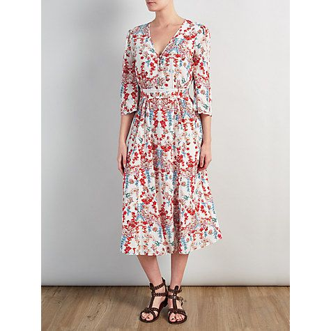 Buy Somerset by Alice Temperley Peony Print Dress, White Online at johnlewis.com