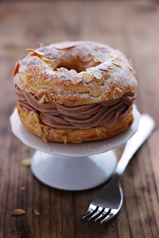 MIEL & CHEESE: Paris-Brest with fondant  The Paris-Brest (pron: pari-brest) is one of the most famous French pastry preparations and owes its name to two cities: Paris and Brest and the bicycle race that united them.  Translate for full recipe