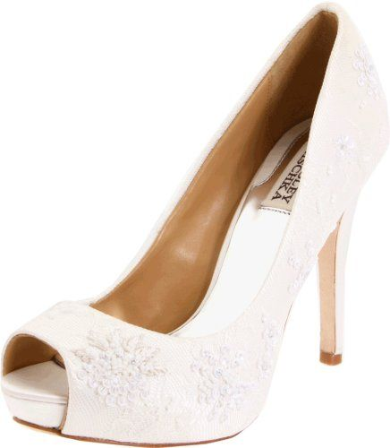 Badgley Mischka Stella Peep Toe White Wedding Shoes