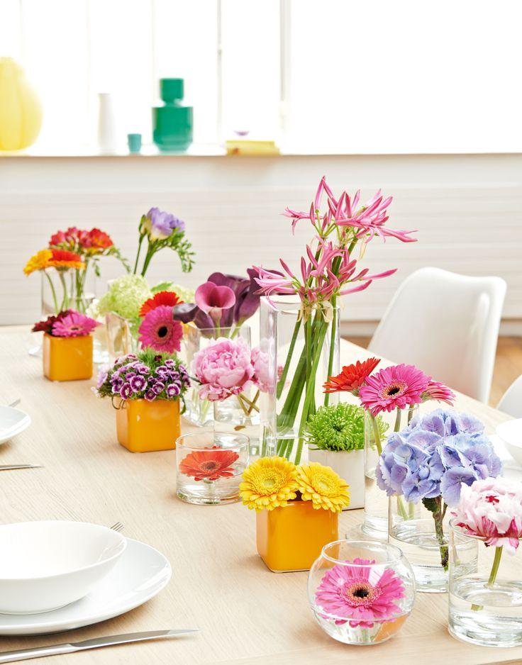 un chemin de table tout en fleurs d co table diy pinterest tables et bouquets. Black Bedroom Furniture Sets. Home Design Ideas