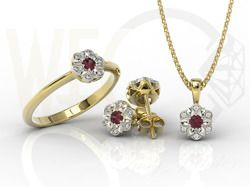 Komplet biżuterii z żółtego i białego złota z rubinem i diamentami / Jewellery set made from white and yellow gold with ruby and diamonds / 3 282 PLN / #jewellery #jewelleryset #gold #diamonds #gift #ruby