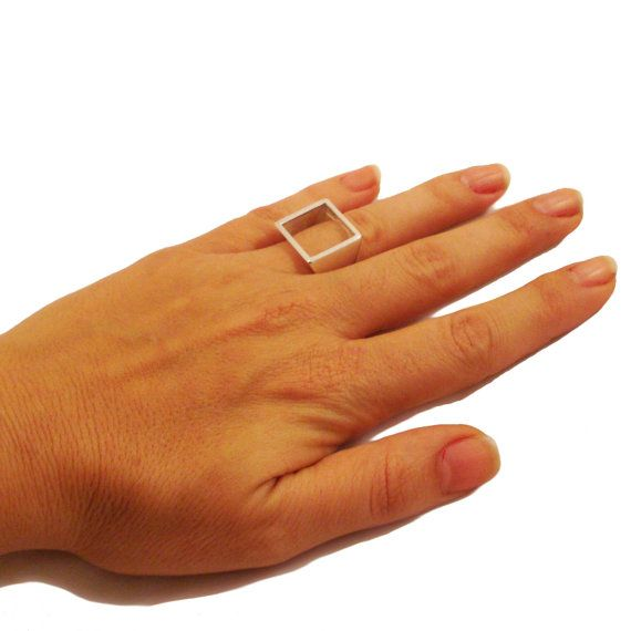 Sterling Silver Open Square ring Geometric Square by osnatharnoy