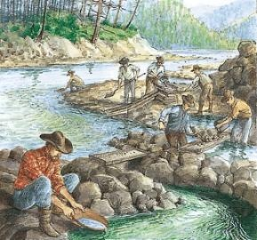 gold mining a stream in California Gold Rush