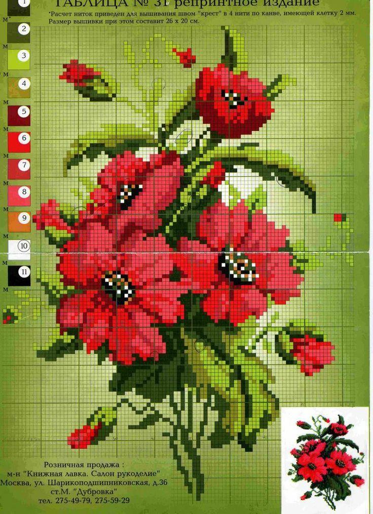 Point de croix Fleurs*m@* Cross stitch