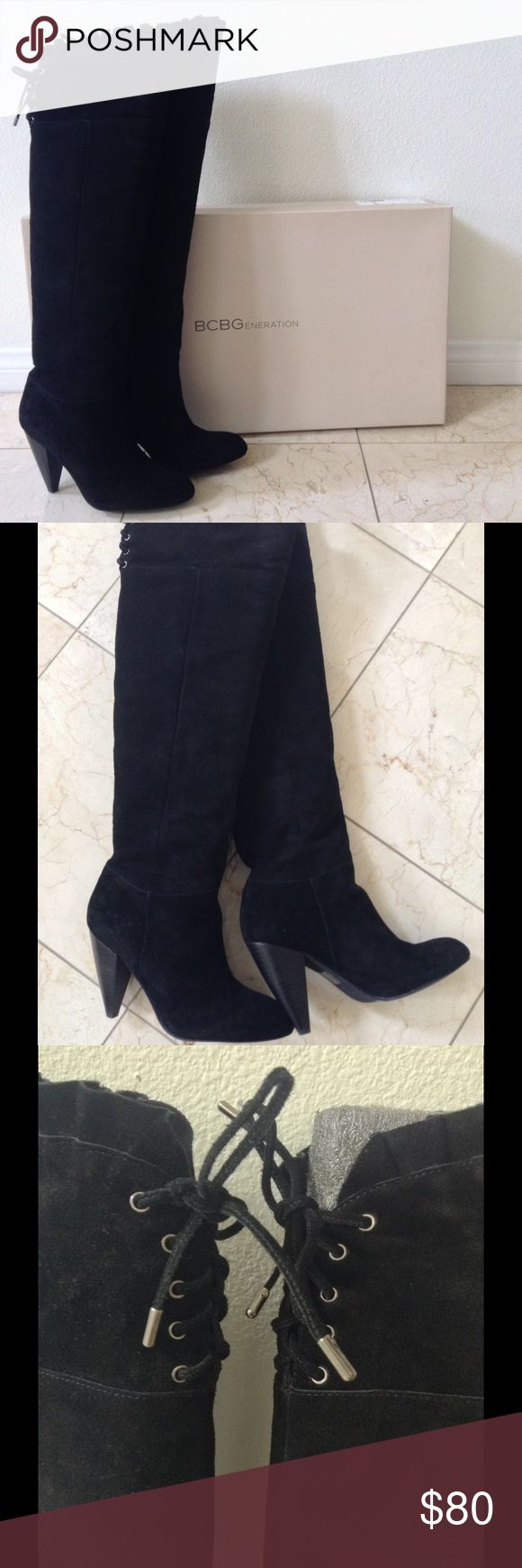 BCBGeneration Sz 7 Black Suede Knee High Boots Womens size 7 M Black Suede knee-high/over-the-knee boots.  1.5 inch heel.  Ruffle detail at the top.  Laces in the back, opens wide.  Comes in original box.  Never worn.  No trades. BCBGeneration Shoes Over the Knee Boots