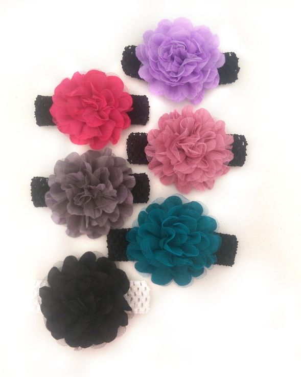 These beautiful hand-made headbands are the perfect idea as an add-on gift for a newborn, photo shoot session, or just to wear as an everyday accessory.  They are available in assorted colours and are very stretchy to suit head sizes from infant to kinder age.   Dimensions: Flower approx. 12cm diameter, band 32-34cm circumference (unstretched)