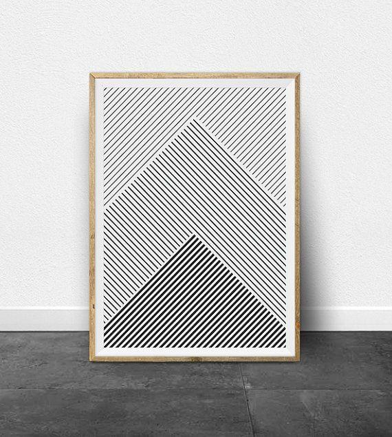Geometric Print, Geometric Art, Black and White Stripes, Printable Art, Black and White Print, Minimalist Art, Printable Wall Art, Lines Art – Aris Selections