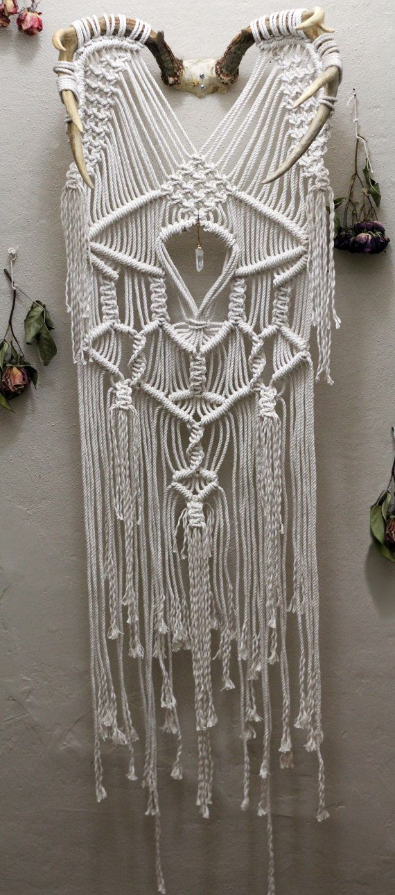 large macramé wall hanging on deer antlers with quartz on macrame wall hanging id=13023