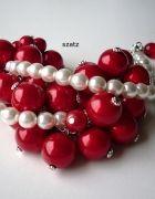 czerwona bransoletka mega gruba walentynki   Cena: 100,00 zł  #czerwonabransoletka #duzeczerwoneperly