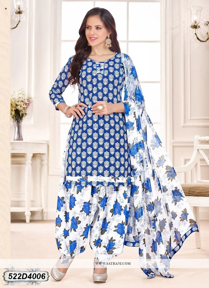 Buy  Aesthetic  White and Blue Colored Cotton salwar suit Online at satrani fashion Latest salwar suit online for women at best price. Shop Now!