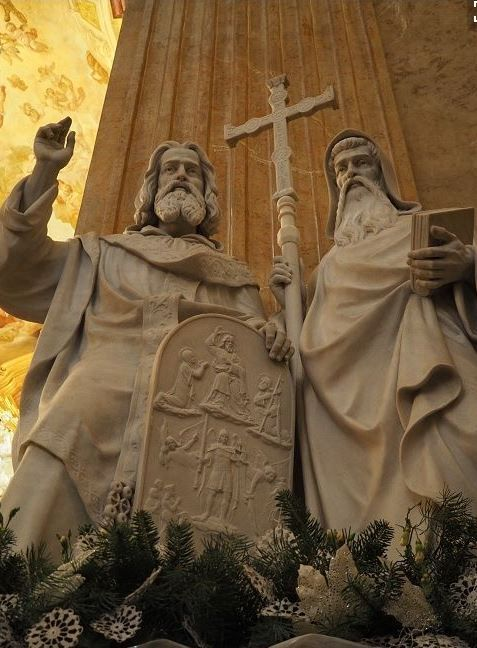 The statue of St.Cyril and Methodius in Velehrad (South Moravia), Czechia