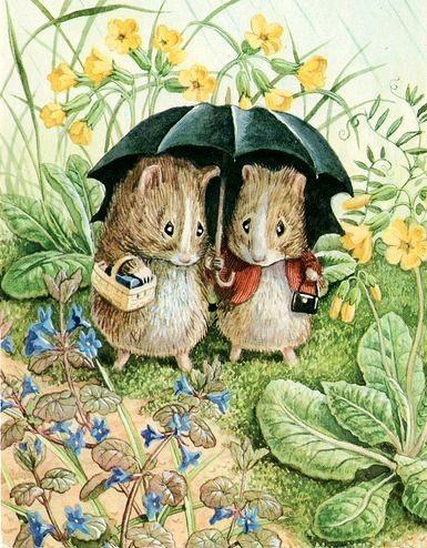 Beatrix Potter ✿ Voles ✿ Mice  ✿ Umbrella ✿ #Illustration ✿ So cute!