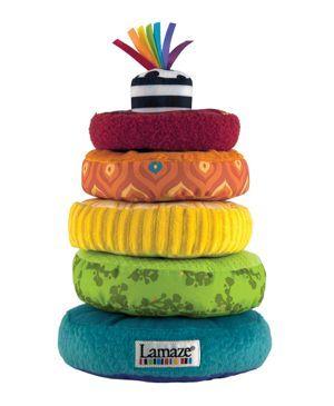 """Spielzeug """"Regenbogen-Stapelringe"""" von Lamaze."""