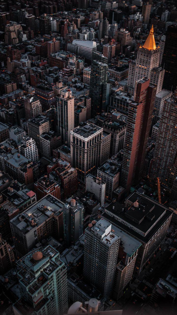 Aerial View Cityscape Dark Buildings 720x1280 Wallpaper Cityscape Wallpaper City Wallpaper Cityscape