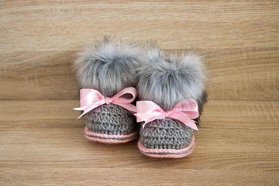 ac2beba839246 Gray and pink fur booties - Newborn girl Booties - Preemie girl ...