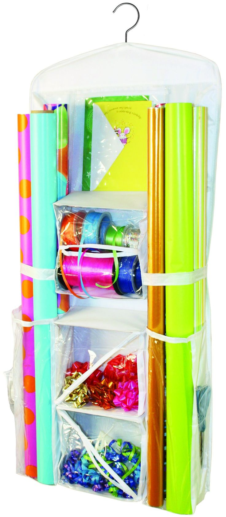 Get ready to celebrate! This gift wrap organizer features pockets on both sides to conveniently store wrapping paper, ribbon, bows, cards, tissue paper, scissors, tape, gift bags, gift boxes, and more. Now you can buy wrapping paper inexpensively at the end of the season, store it and be ready for occasions all year long! The organizer has a hook for easy hanging from a closet rod.