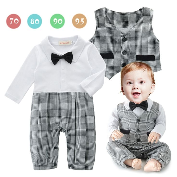 DHL EMS Free shipping baby boys 2 piece Suit rompers Waistcoat Little Gentlenman Party Wear Baby Clothing 8 pcs/lot Long Sleeve