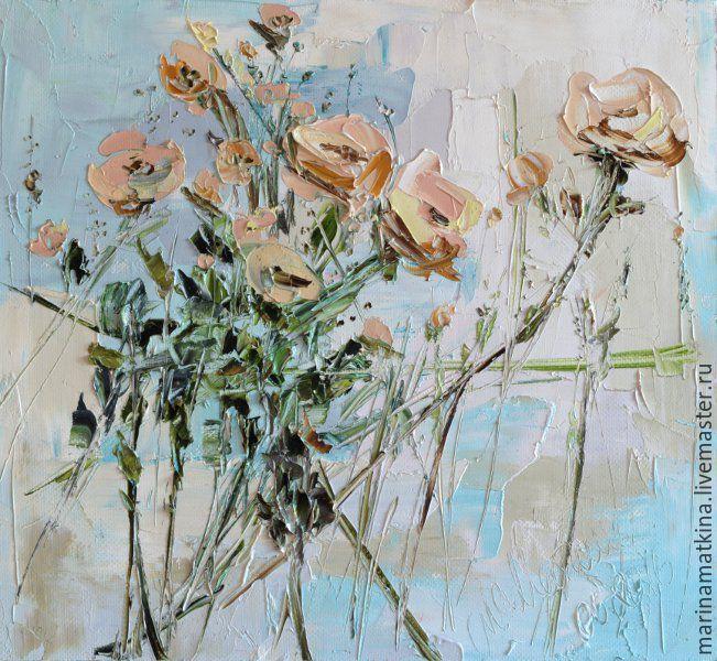 Купить Голубая Бирюзовая Серая Картина с цветами без вазы масло холст спальня