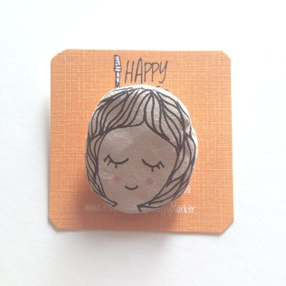 Handmade Clay Brooch on Etsy by Happy Marker #girl #drawing #cute #pretty #diy #etsy #shop #seller
