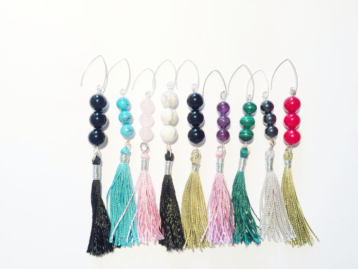 Gemstones and colourful earrings. www.pearlanajewelry.etsy.com