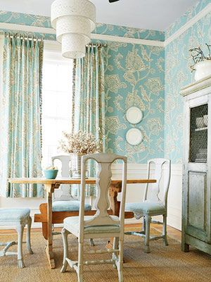 modern wallpaper blue white dining room botanical print modern cottage style - Modern Cottage Style Interior Design 2