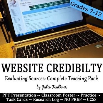 Evaluate Credibility & Validity of Online Sources Lesson, Complete Teaching Pack: Teach students the importance of evaluating the credibility of of online sources before they turn in papers and projects with citations from those dreaded, unreliable websites!