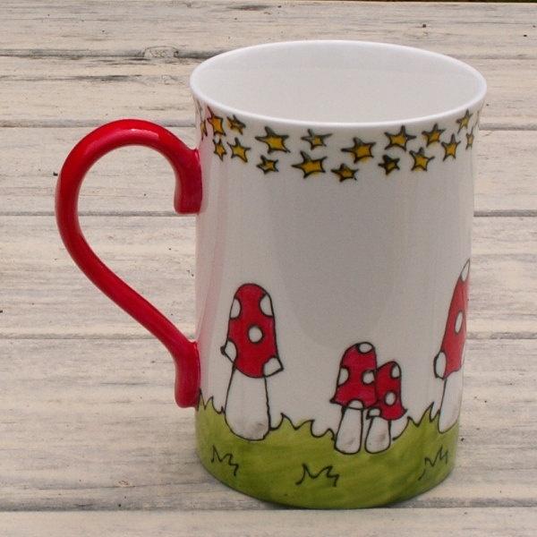 Red Mushroom Hand Painted  Mug Bright and Funky. $18.00, via Etsy.