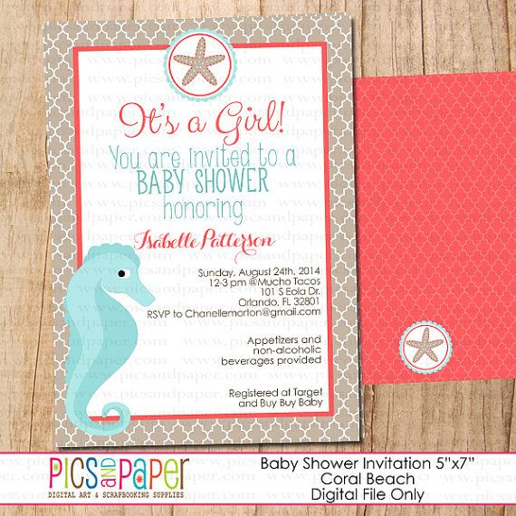 Beach, Ocean Baby Shower Party Invitation-Coral and Aqua, Seahorse, Starfish, for baby girl-You Print