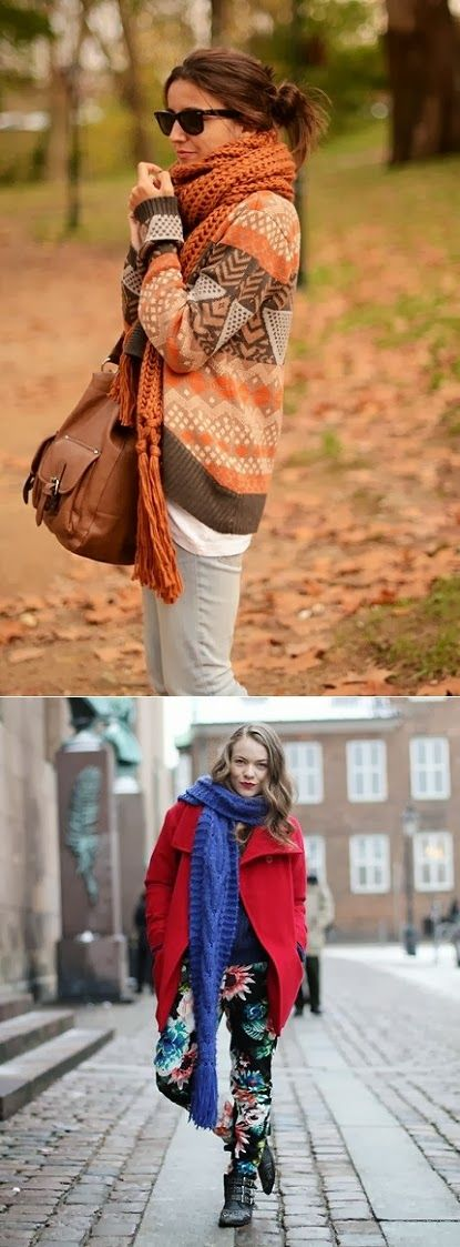 Long, chunky and oversized scarves... i miss fall weather! If i wore this in Abu Dhabi I would a) look crazy and b) die.